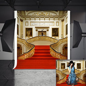 Red Carpet Golden Stairs Photography Background for party or special event decoration