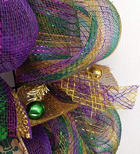 Mardi Gras Wreath Fleur De Lis Purple Green and Gold Mardi Gras Handmade Deco Mesh