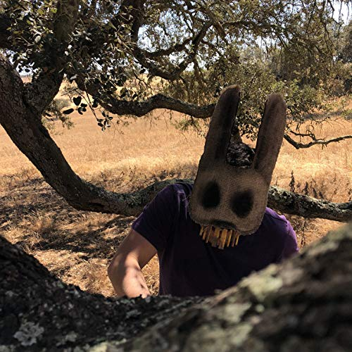 Creepy Rabbit Mask - Burlap Bunny Mask - Scary Halloween Mask - Handmade Custom Props - Adult Horror Mask