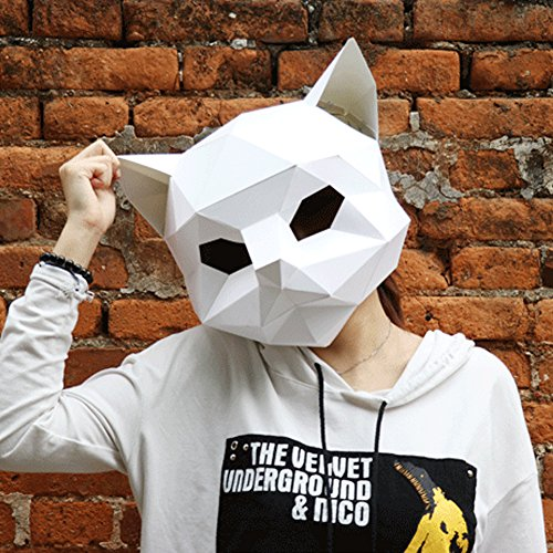 Modern Paper Art Cat Head - White for Adult