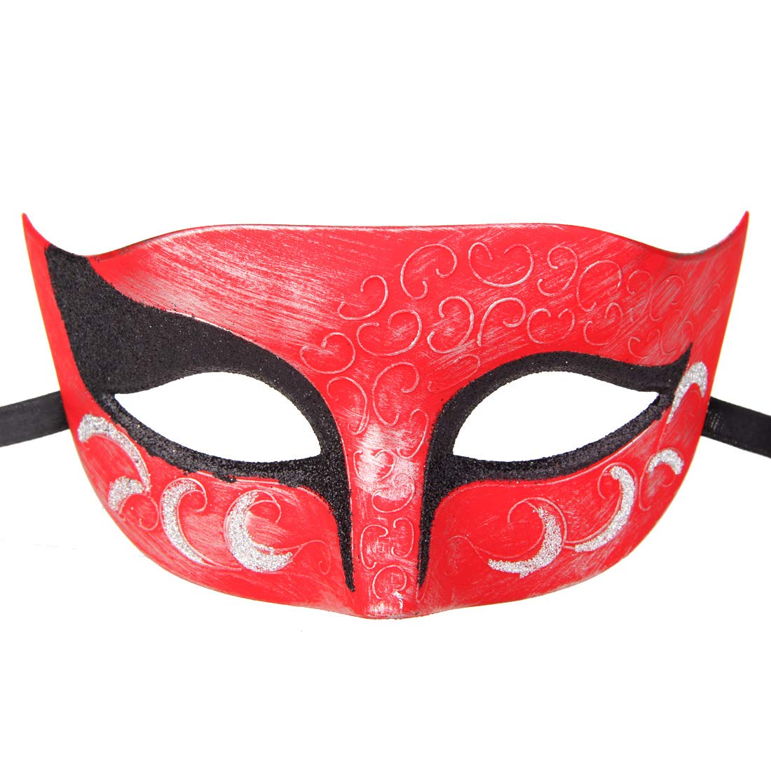 Couples Pair Half Venetian Masquerade Ball Mask Set Party Costume Accessory (on Stick-Black&red)