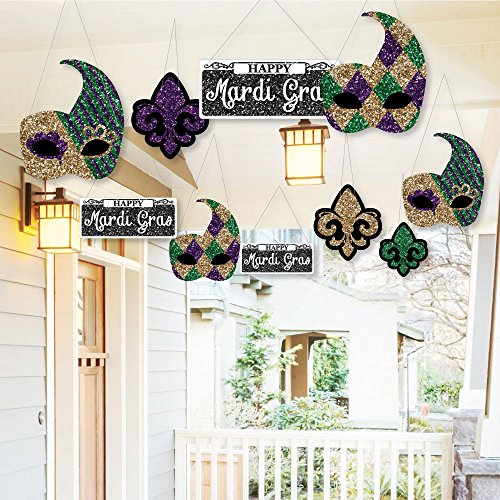 Glitter Hanging Mardi Gras Outdoor Decorations and for special events and parties