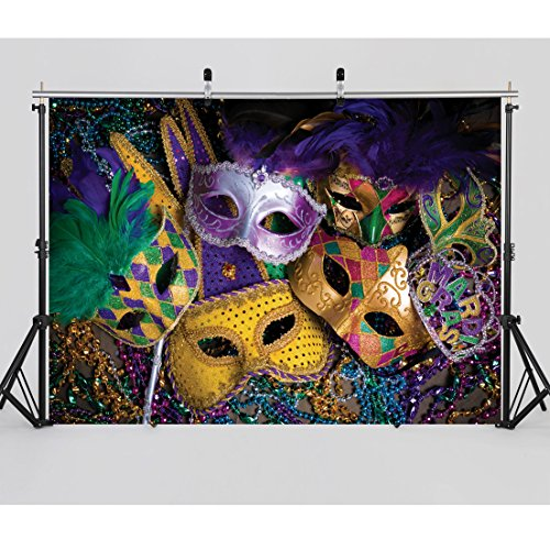 Masquerade Mask Ball Colorful Photography Backdrop for themed parties and special events