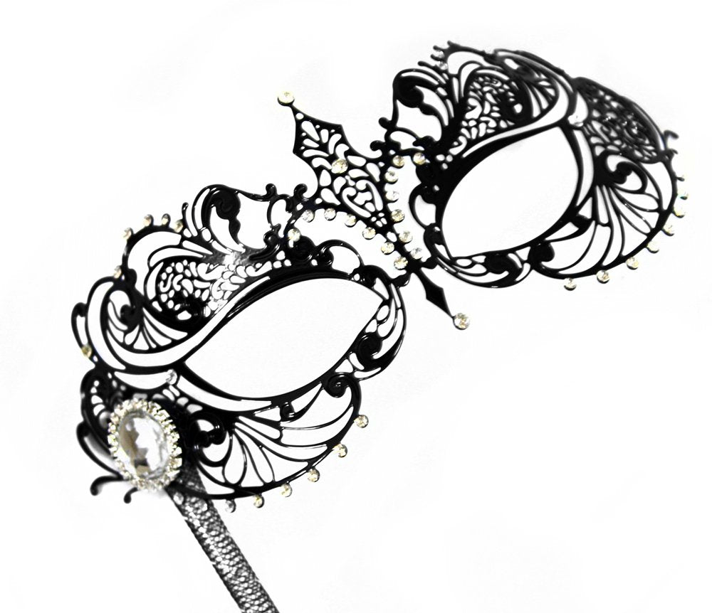 Success Creations Corrine Laser-Cut Metal Black Venetian Women's Masquerade Mask on a Stick