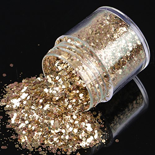 Chunky and fine cosmetic Glitter multi pack, Great festival makeup and body art, Iridescent Flakes of Mixed colors for Face Body Hair Nail Art