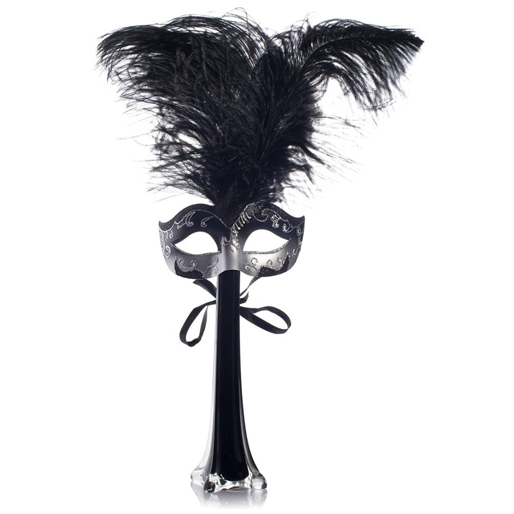 Black Masquerade Party Centerpiece with Black Glass Vase