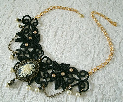 Black Lace Victorian Rose Choker Necklace - Gothic Chic