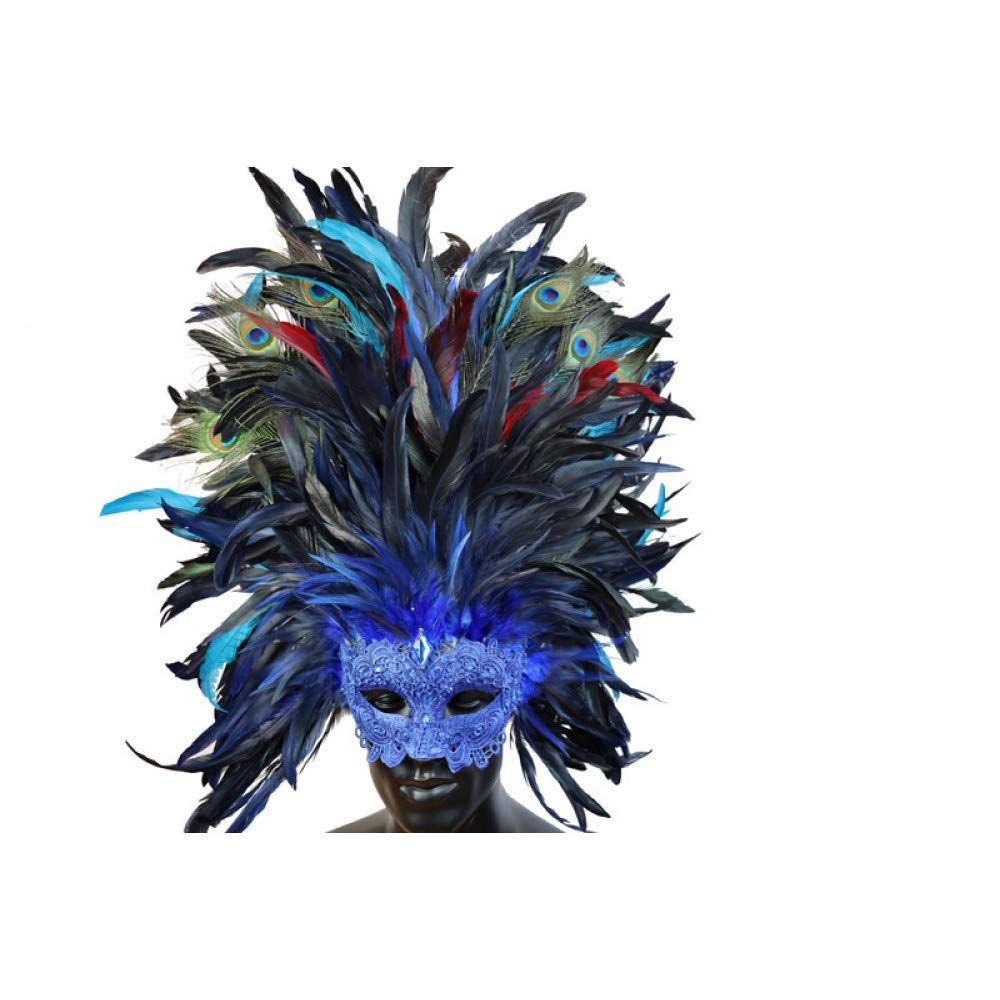 Mask Women's Elaborate Vibrant Feather Masquerade Venetian Halloween Mardi Gras Costumes Party Ball Prom (Blue)