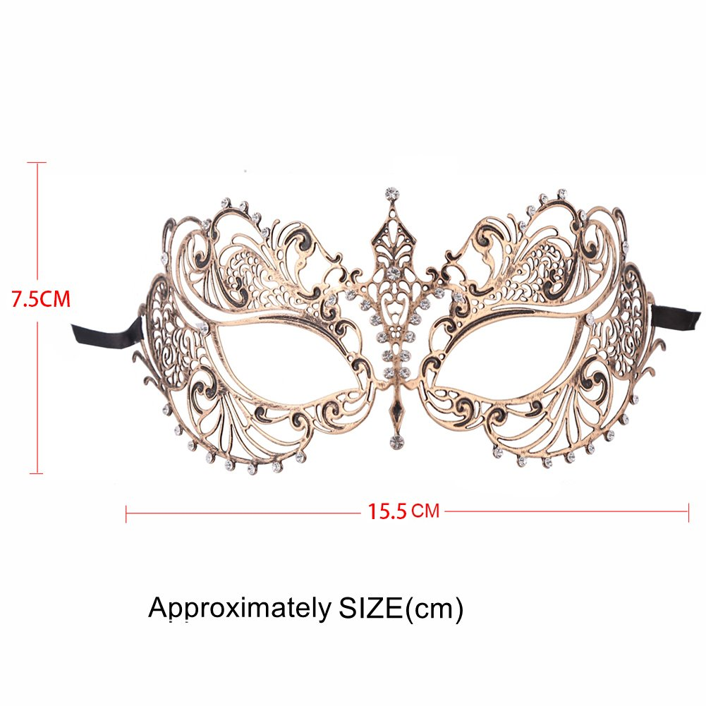 One Pair Venetian Mask Masquerade Mask for Couples (Vintage Gold Couple)