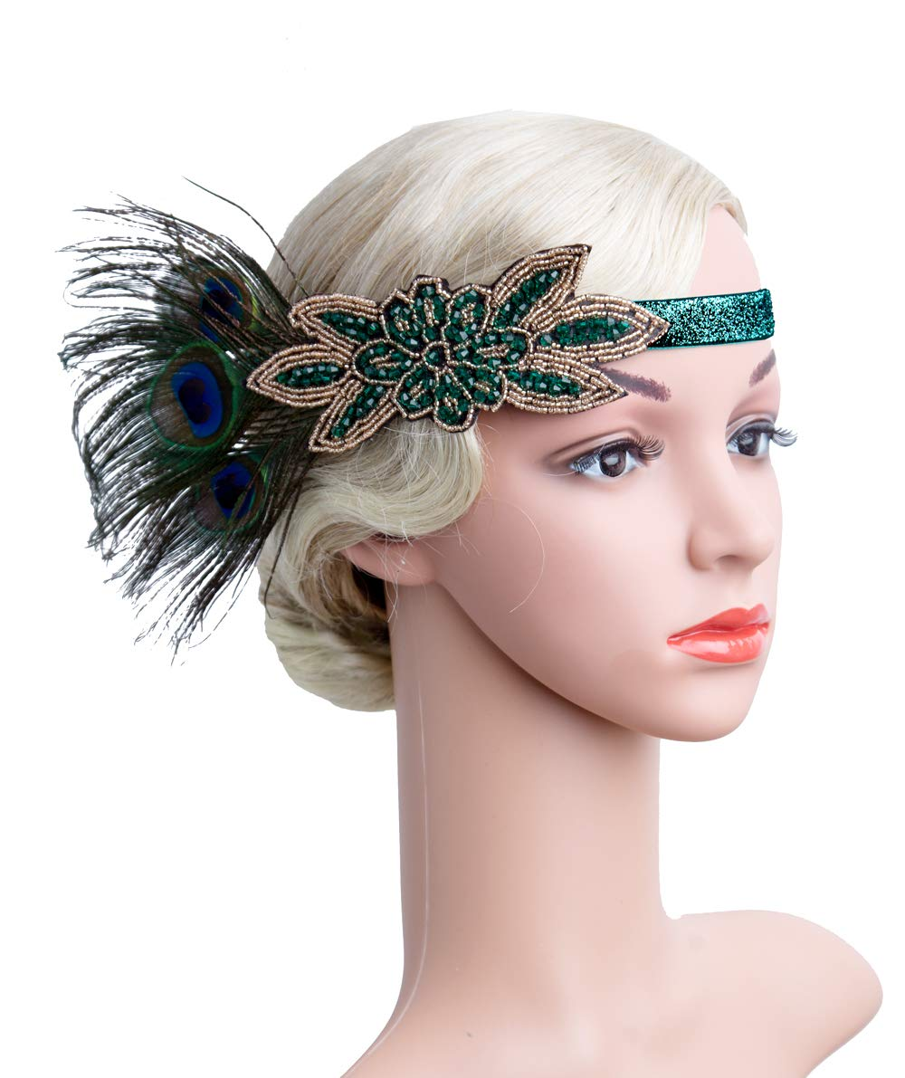 1920s Accessories Headband Necklace Gloves Cigarette Holder Flapper Costume Accessories Set for Women(11O)