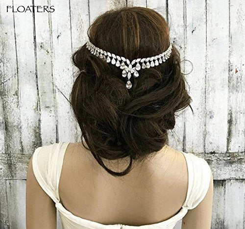 Bridal Head Chain Headpiece, Zirconia Crystal Headband, Goddess Hair Chain, Wedding Hair Accessories, Designer Jewelry