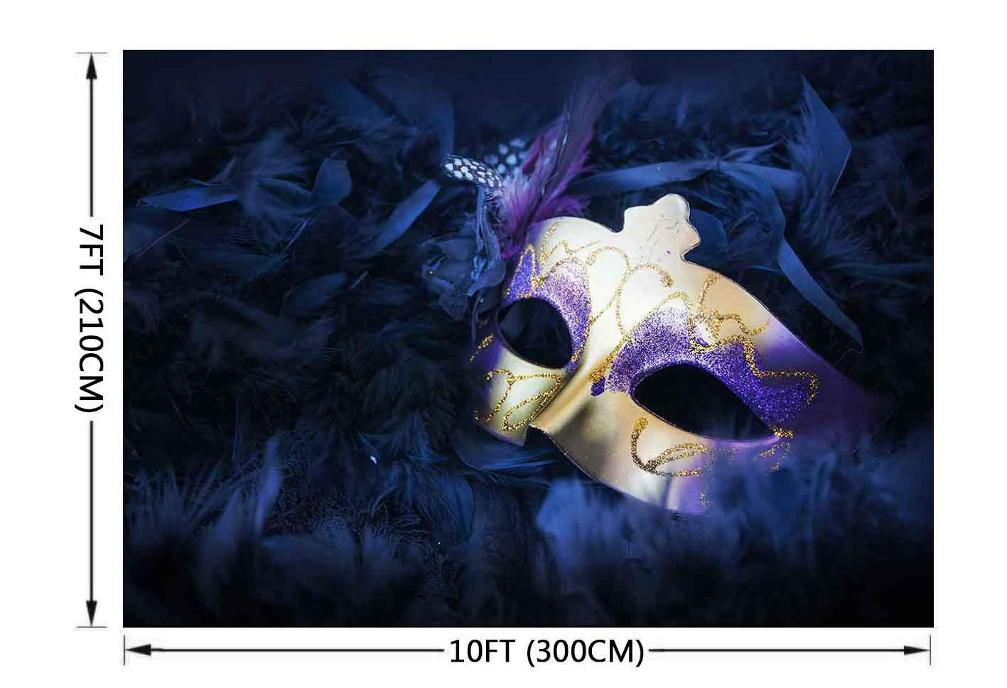 Masquerade Party Photography Background 10x7FT Purple Mask Backdrops for Birthday Party Decoration Photo Studio Props
