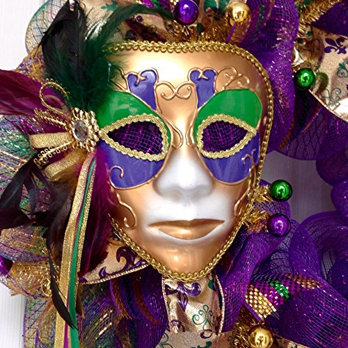 Mardi Gras Wreath Extra Large With Venetian Mask and Fleur De Lis Handmade Deco Mesh