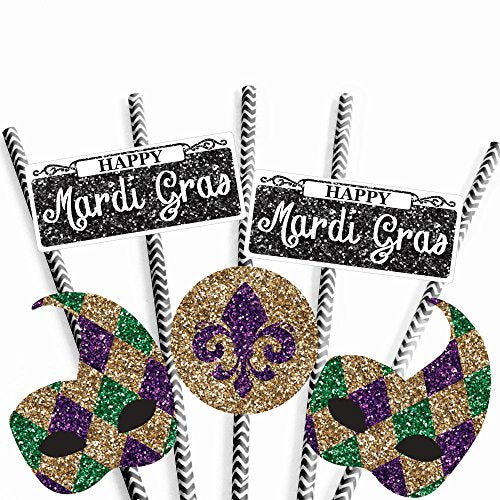 Masquerade Mask Party Striped Decorative Straws - Paper