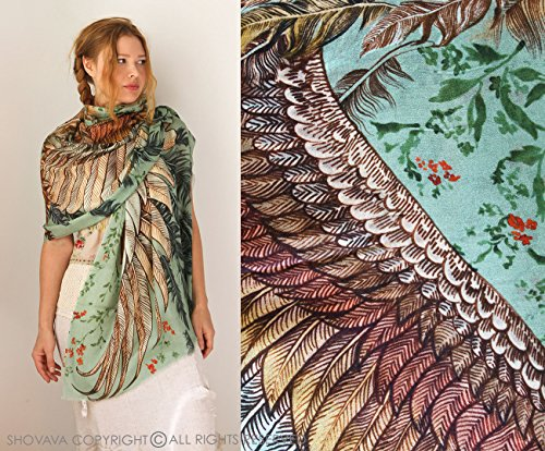 Floaty Tribal Festival Bird Scarf Shawl - Hand Painted Feathered Wings - Green