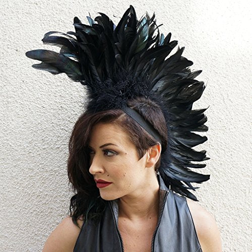 Fabulous Black Rooster Tail Feather Mohawk Headdress