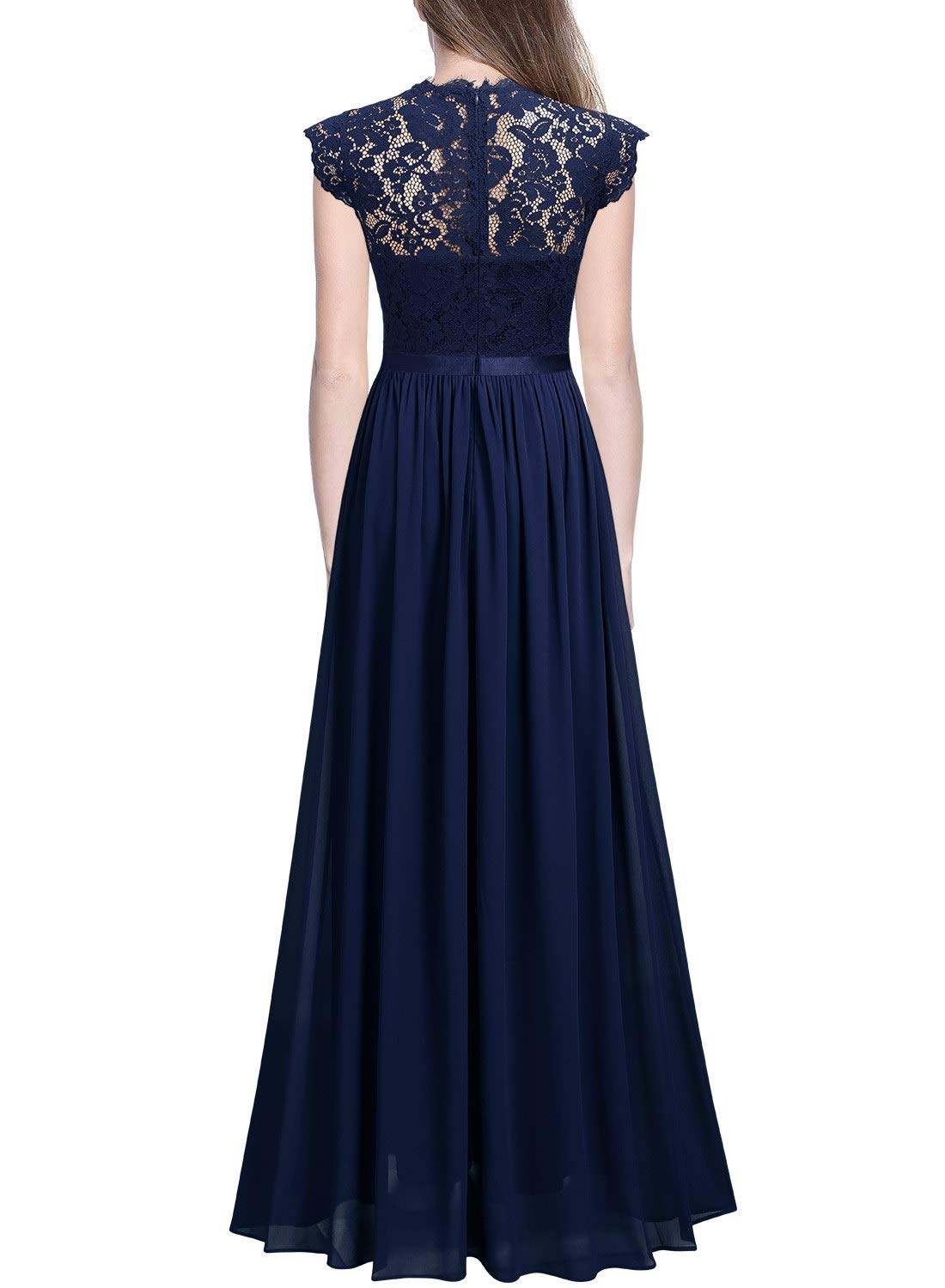 Miusol Women's Formal Floral Lace Evening Party Maxi Dress (Large, Navy Blue)
