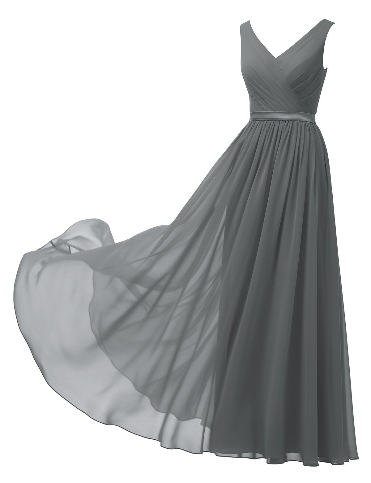 Masquerade Dress V-Neck Chiffon Bridesmaid Dress Long Formal Ball Gown Party Evening Dress Sleeveless