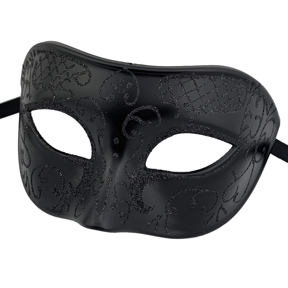 Couples Pair Goth Venetian Masquerade Masks Set Party Costume Masks (Black)