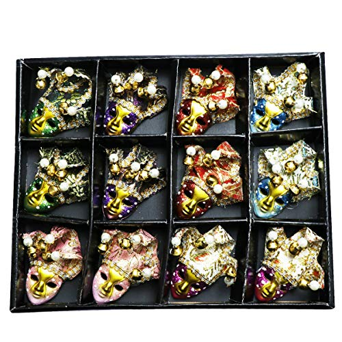 12 x Miniature Mini Masquerade Masks - fabulous small full face masks for party decorations
