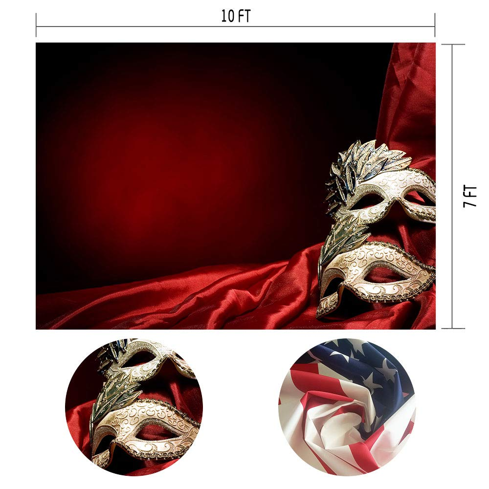 MTMETY 10ft(W) x7ft(H) Red Background Magic Mask for Fancy Dress Theme Party Photography Background Photo Studio Props Backdrop ME290
