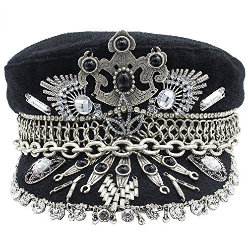 BURNING MAN MILITARY JEWELED HAT, BAKER BOY CAP, CAPTAIN'S HAT STYLE GREAT FESTIVAL PARTY HEAD WEAR