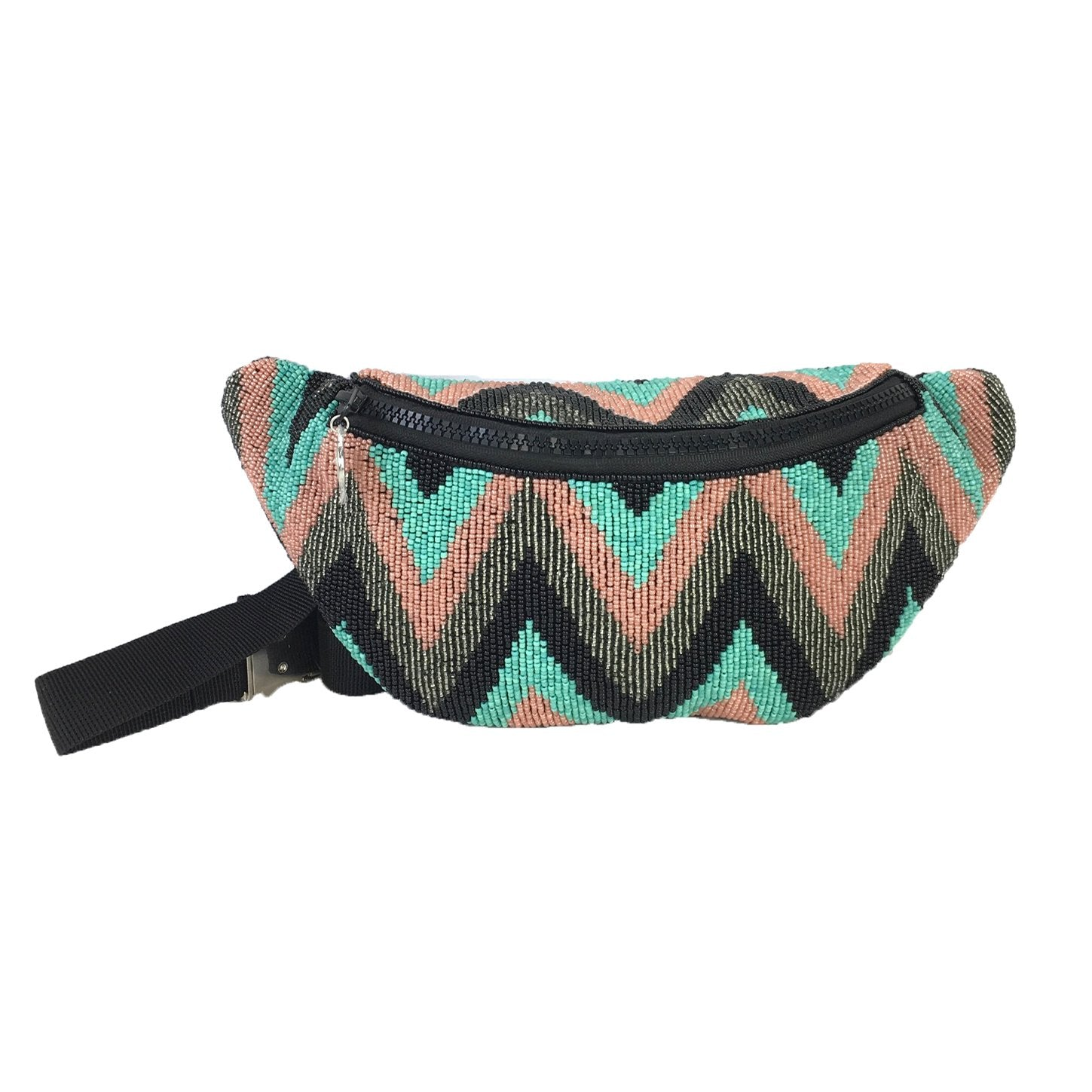 From St Xavier Dara Beaded Waist Pack Fanny Belt Bag, Black/Turquoise