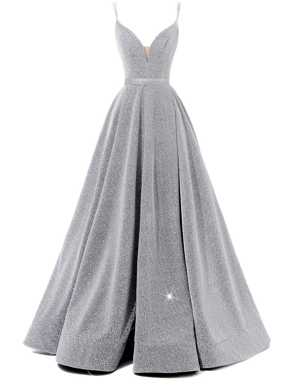 Sparkly Masquerade Ball Gown Spaghetti V-Neck Prom Dresses Long Side Split Formal Evening Gowns Silver