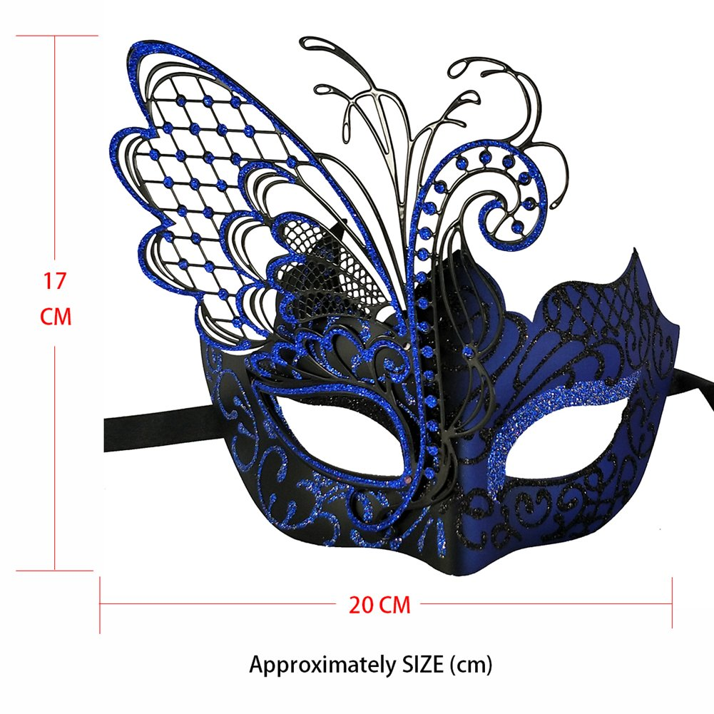 Stunning Masquerade Mask for Women Venetian Pretty Party Evening Prom Mask (Black and Blue Butterfly design))