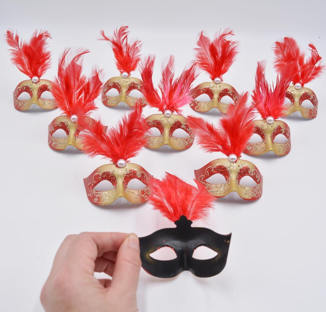 Miniature Luxury Pearl Feather Mini Masks Venetian Masquerade Party Decoration Novelty Gifts (red) - pack of 12