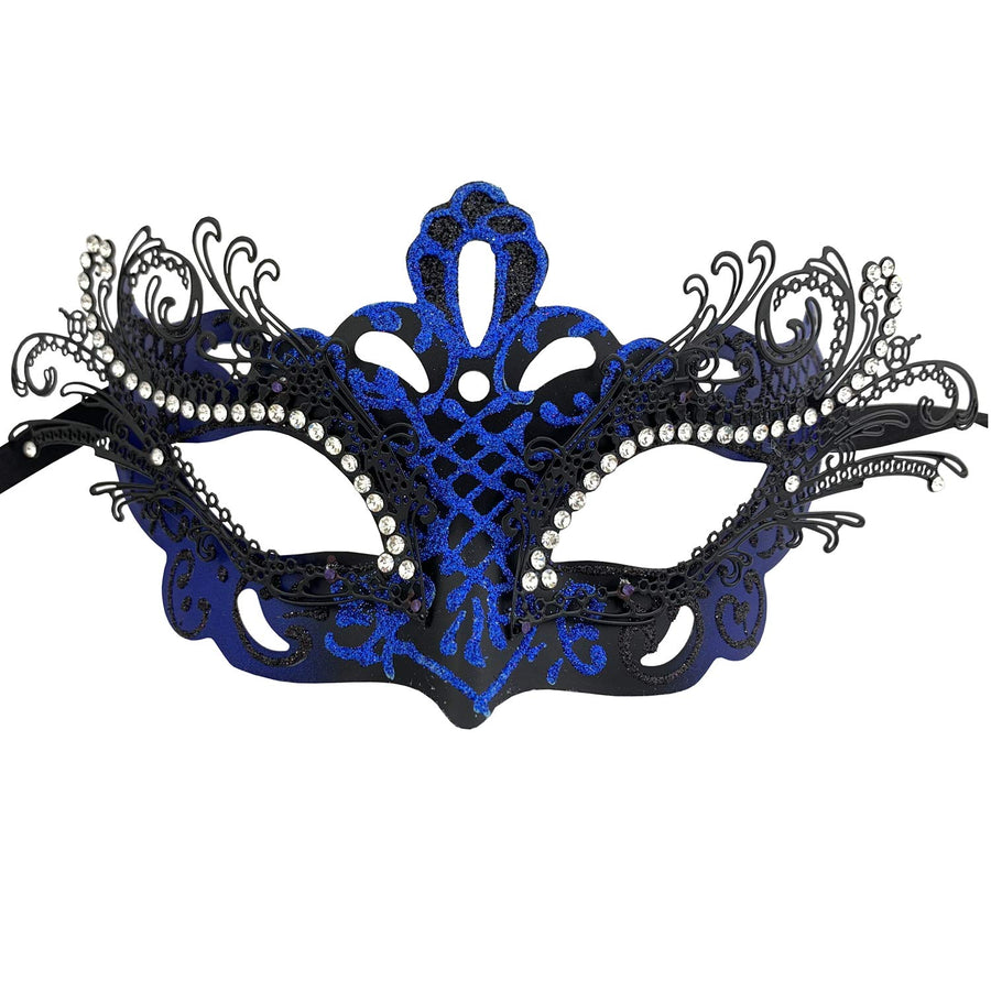 Couple Masquerade Metal Masks Venetian Halloween Costume Mask Mardi Gras Mask (2 Pack Black Blue)