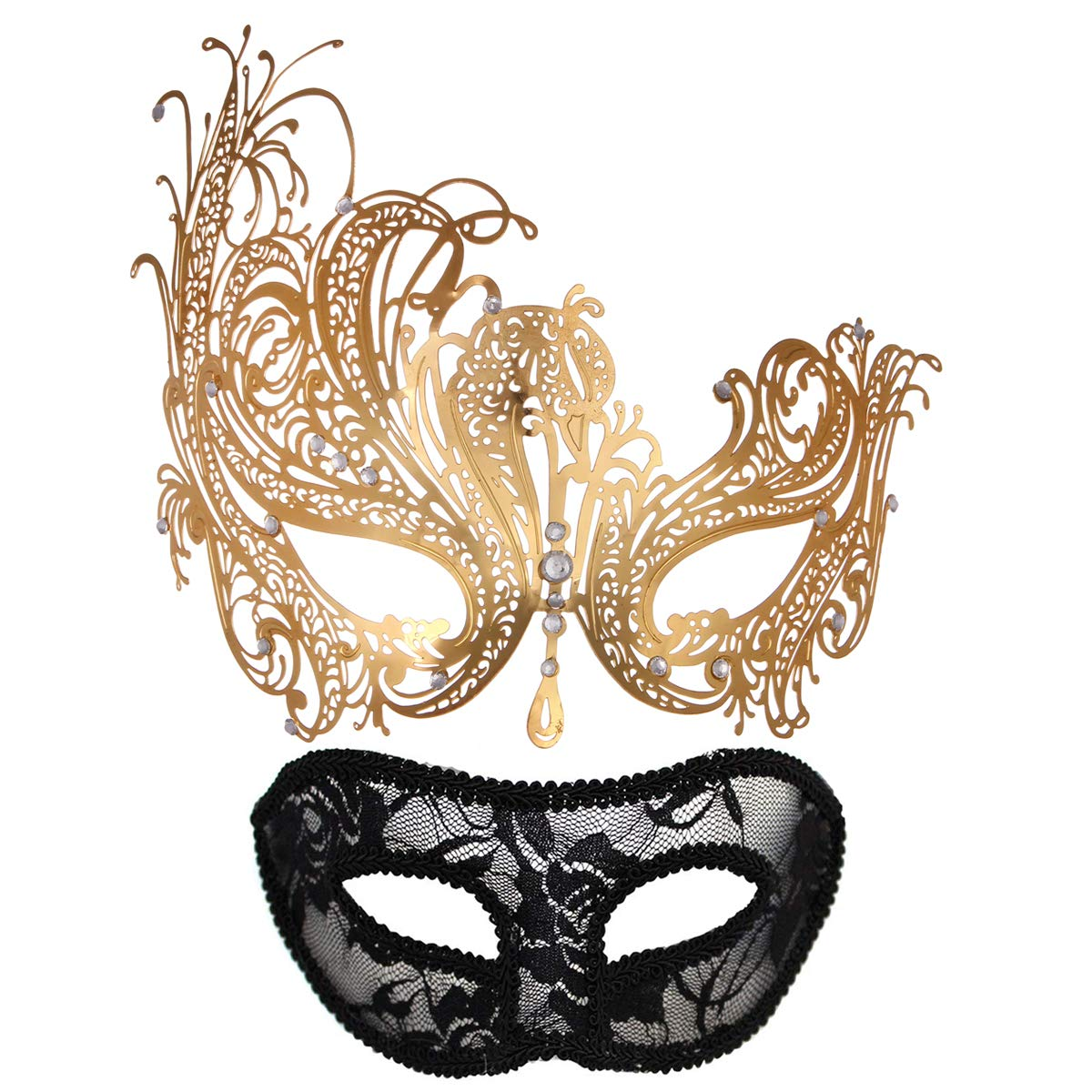 Masquerade Mask for Couples Women Metal Rhinestone Venetian Pretty Party Evening Prom Ball Mask Luxury Metal Mask