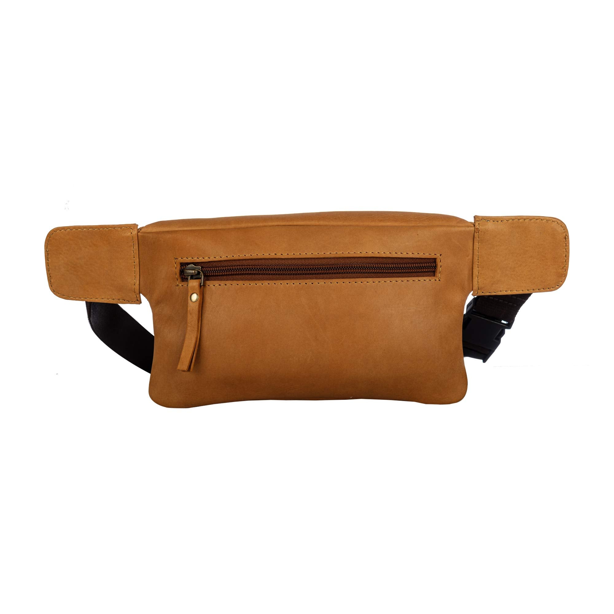Finelaer Mustard Leather Fanny Waist Travel Hiking Pack Bag