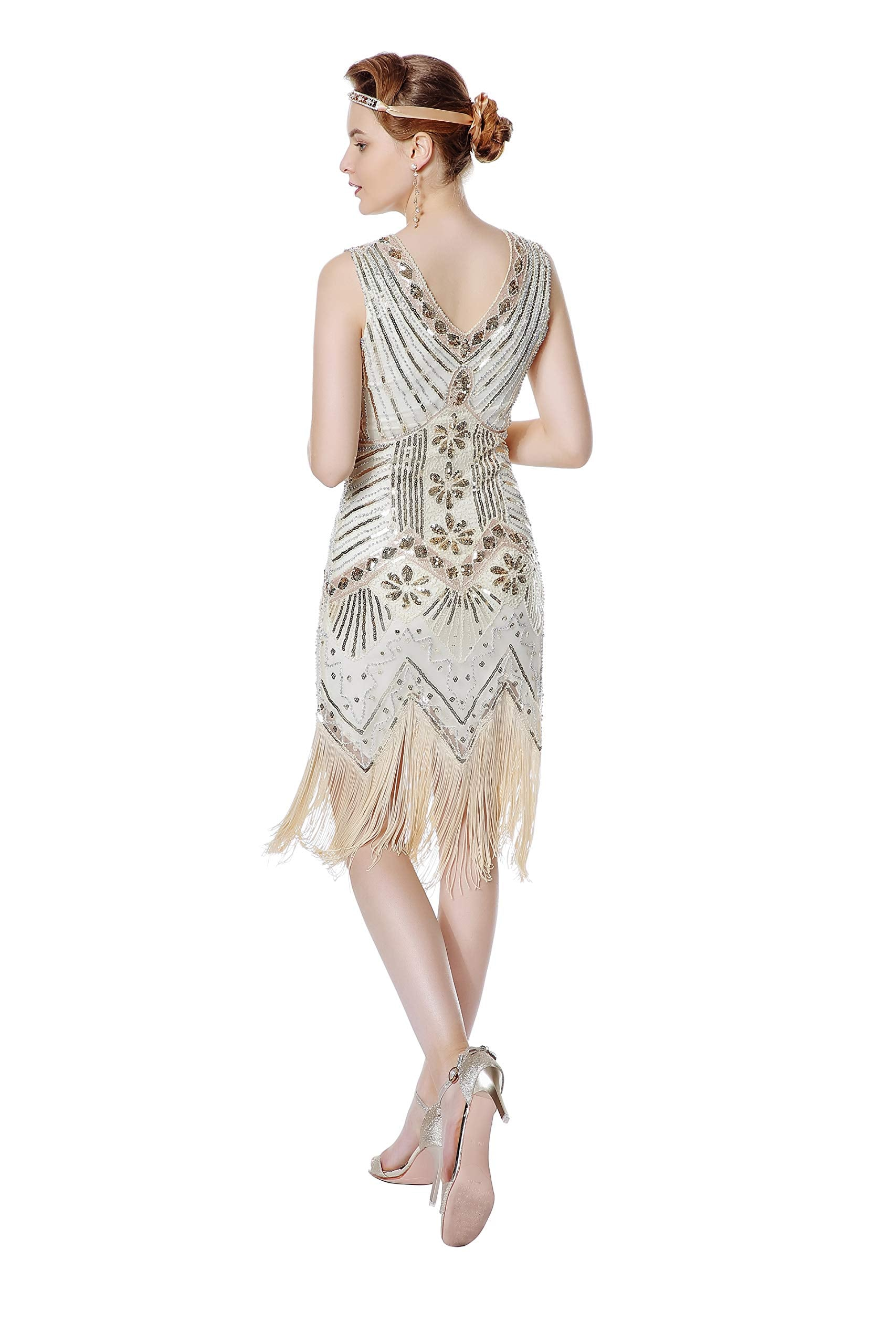 Metme Women's Flapper Dress 1920s V Neck Beaded Fringed Gatsby Theme Roaring 20s Dress for Prom Apricot