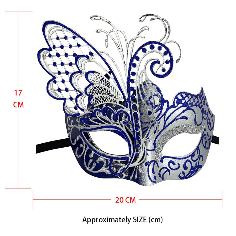 Gorgeous Masquerade Mask for Women Venetian Pretty Party Evening Prom Mask (Butterfly Silver&Blue)