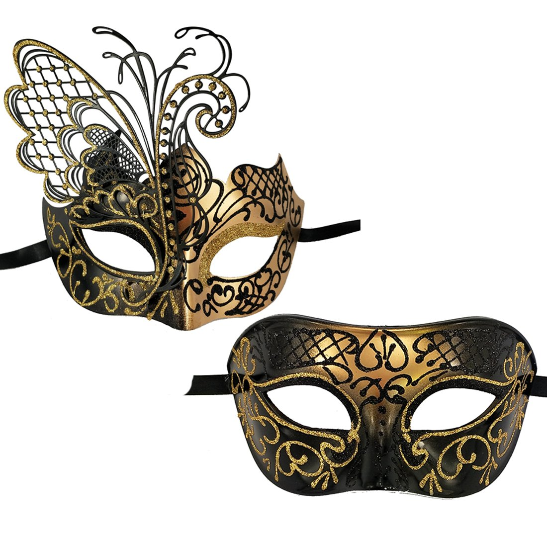 Xvevina Couples Pair Mardi Gras Venetian Masquerade Masks Set Party Costume Accessory (Black Gold Couples), Large