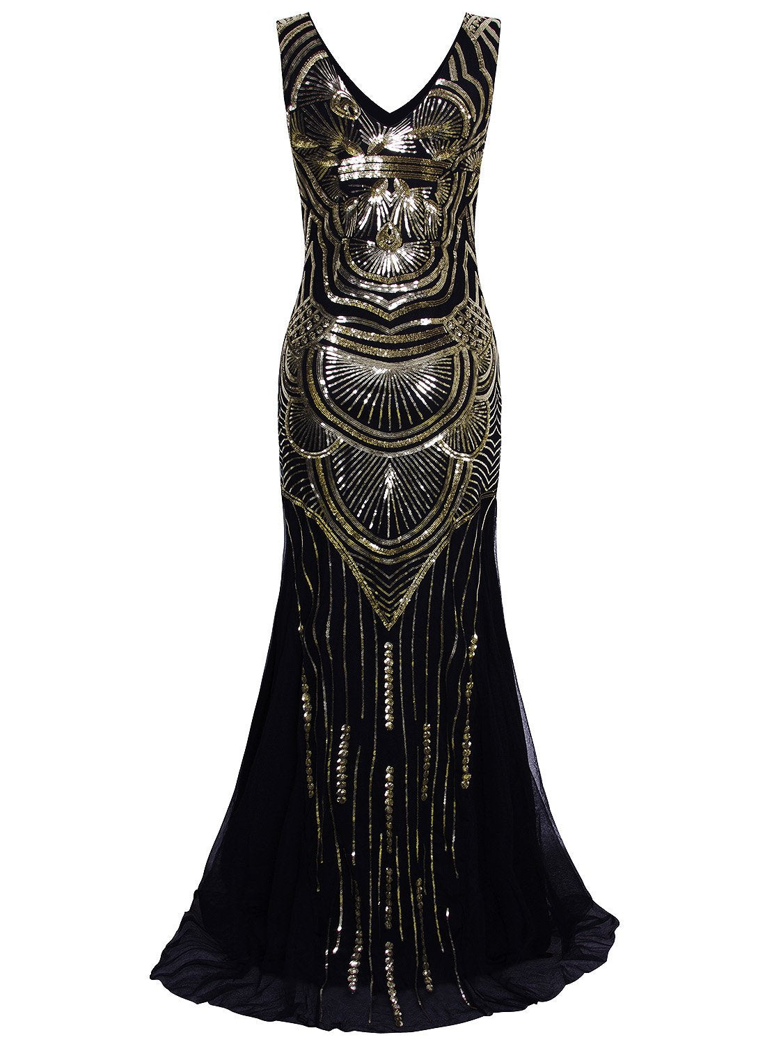 1920s Long Masquerade Maxi Peaky Blinders Prom Great Gatsby Vintage Gowns Sequin Embellished Evening Dress Black and Gold