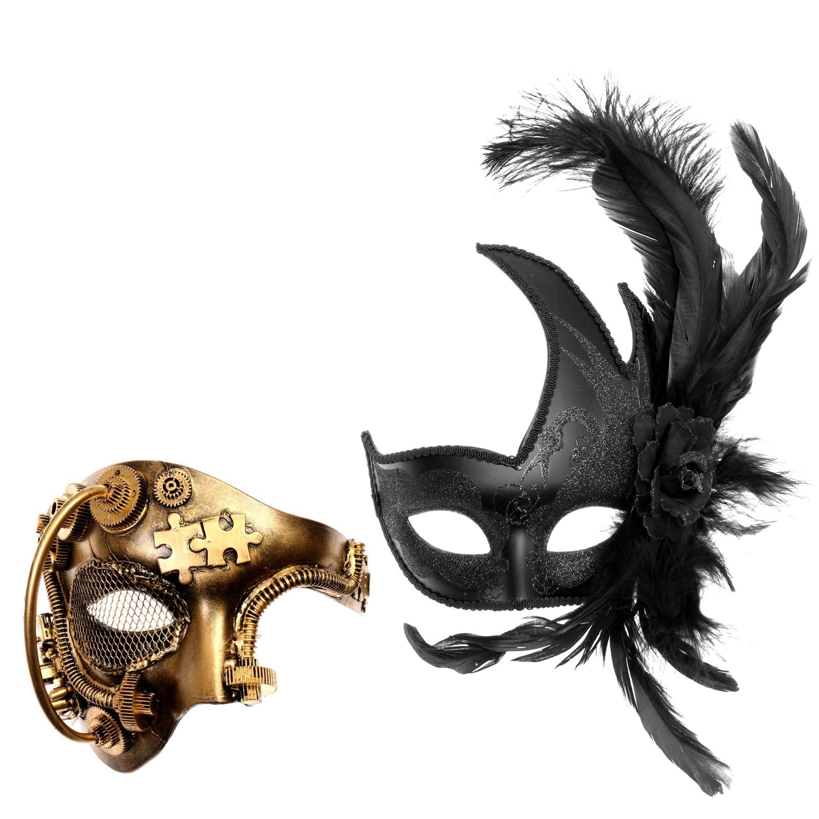 Gold Phantom Steampunk & Black Side Feather Masquerade Mask Couple