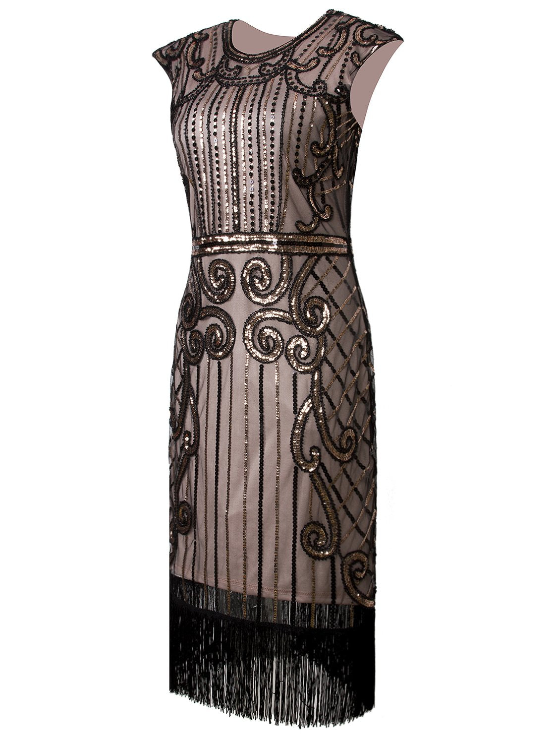 1920s Vintage Inspired Sequin Embellished Fringe Long Gatsby Flapper Dress Black Beige