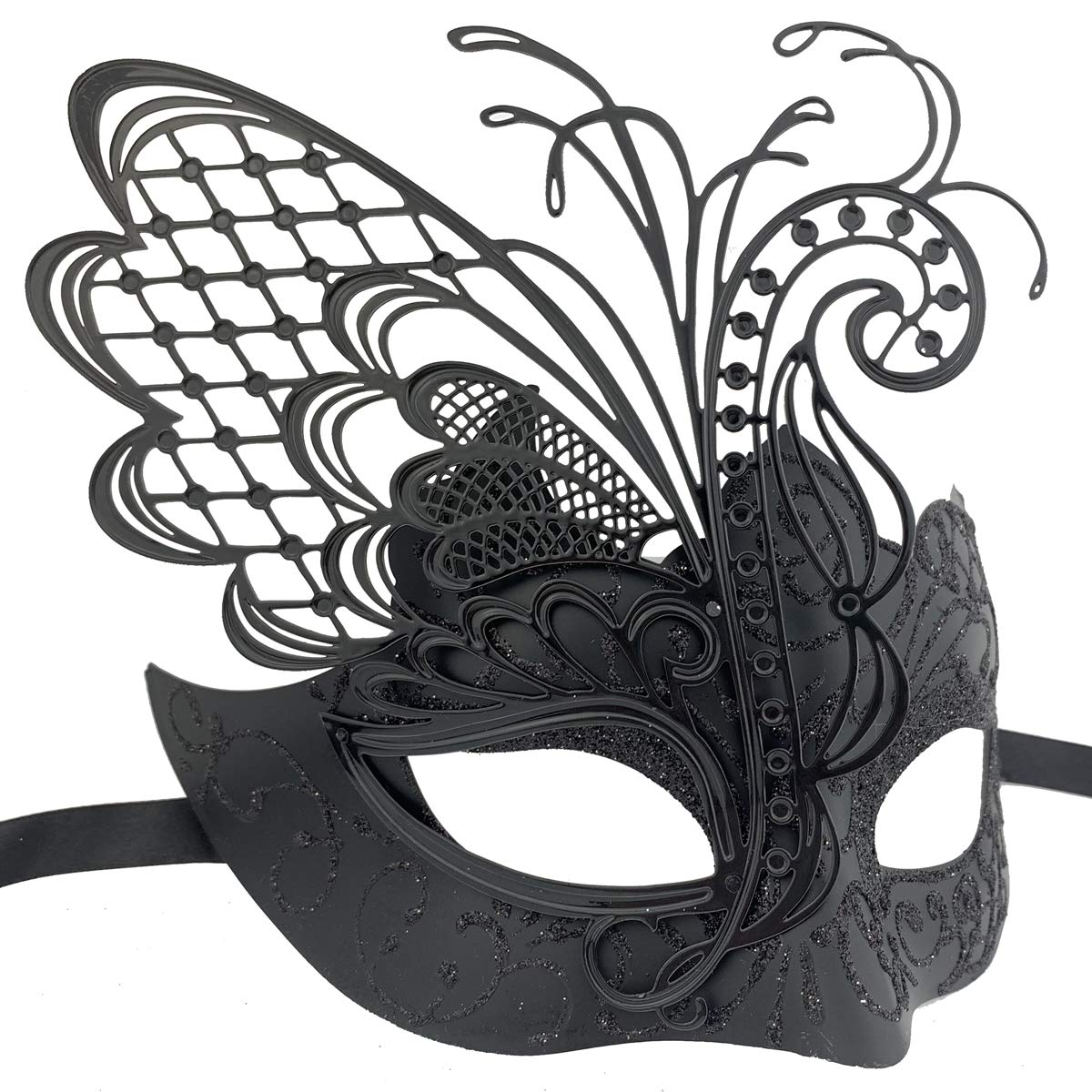Couple Mens Masquerade Lace Feather Black Tie Mask Pair Formal Cocktail Party