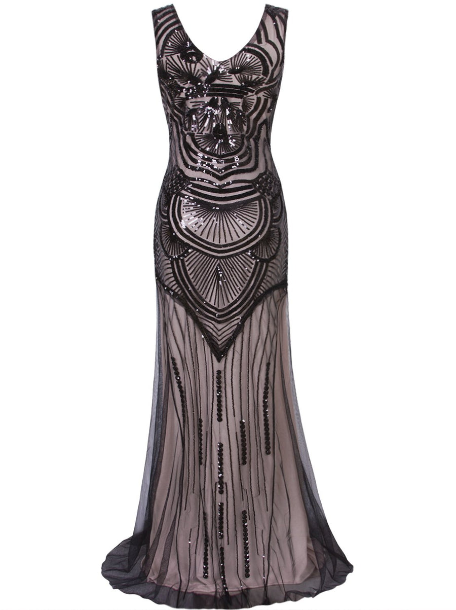 1920s Long Masquerade Maxi Peaky Blinders Prom Great Gatsby Vintage Gowns Sequin Embellished Evening Dress