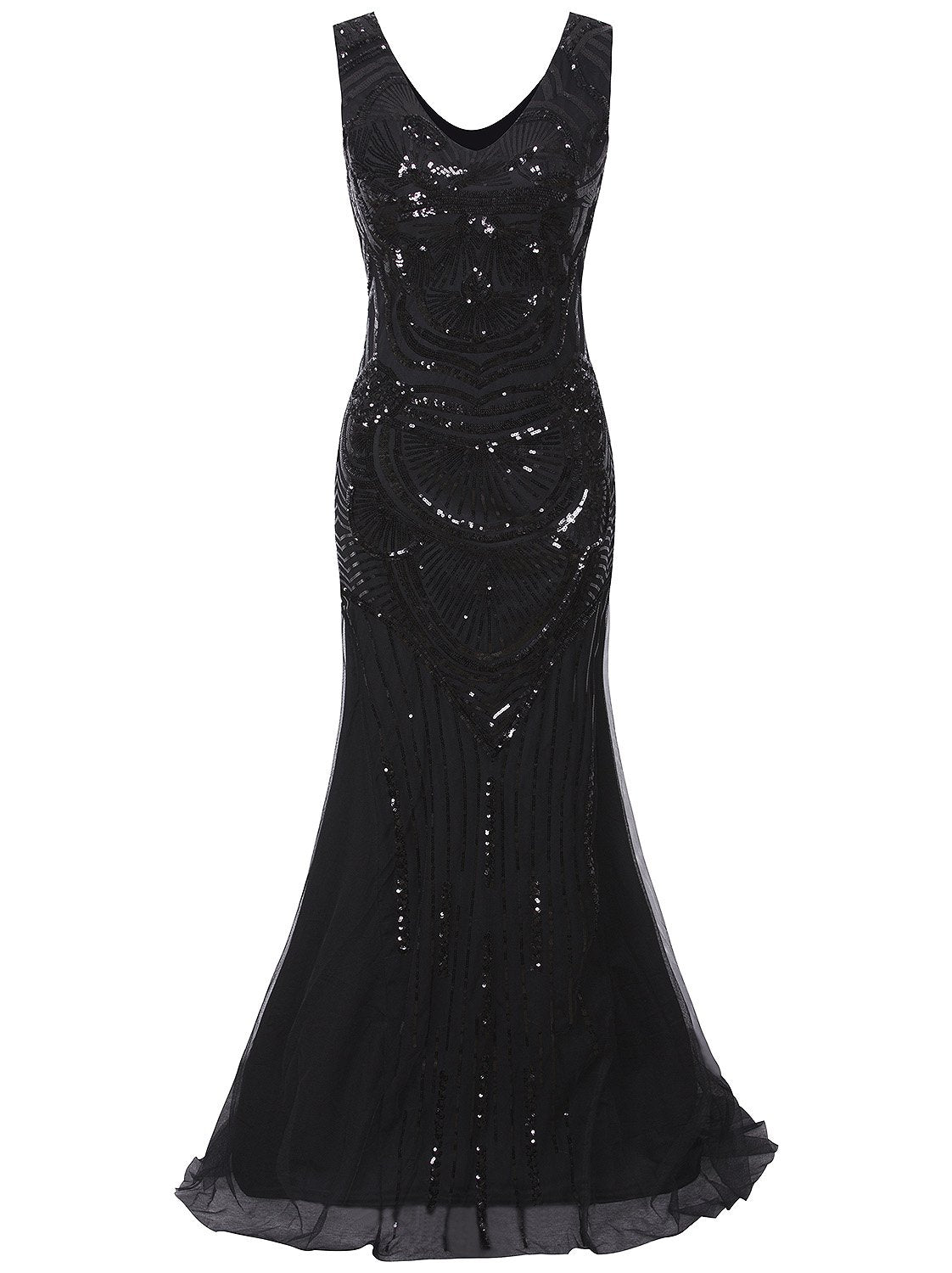 1920s Long Masquerade Maxi Peaky Blinders Prom Great Gatsby Vintage Gowns Sequin Embellished Evening Dress Black