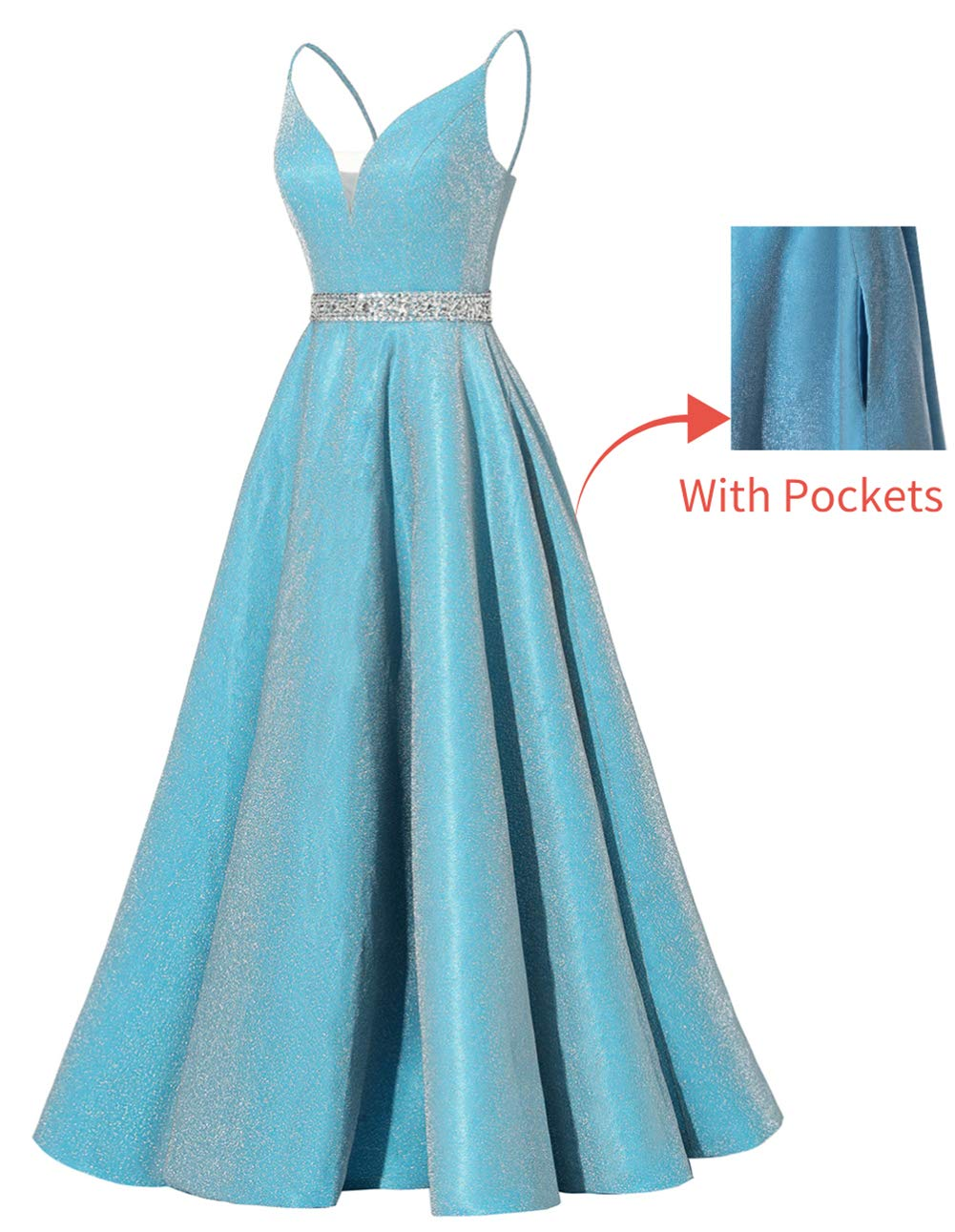 Masquerade Dress Satin Long Beaded Prom Dresses V-Neck Spaghetti Formal Evening Gowns