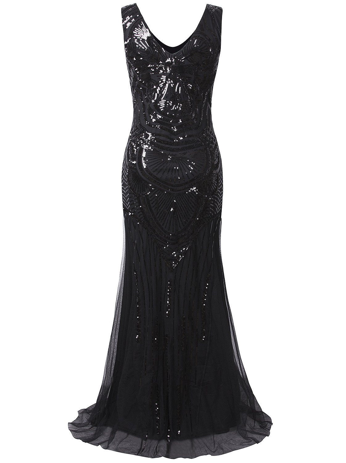 Vijiv 1920s Long Prom Dresses Sequin Beads Mermaid Great Gatsby Theme Wedding Party Dress,Black,Large