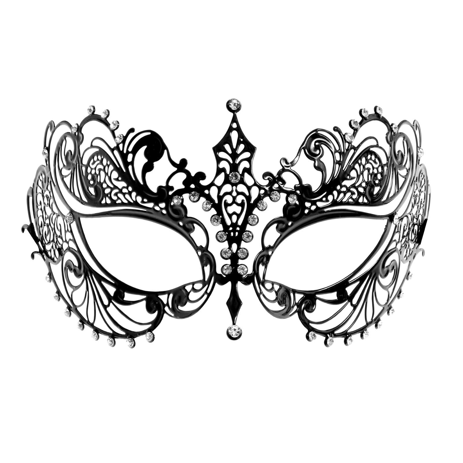 Gold Skull Bauta & Black Laser Cut Venetian Masquerade Mask Couple
