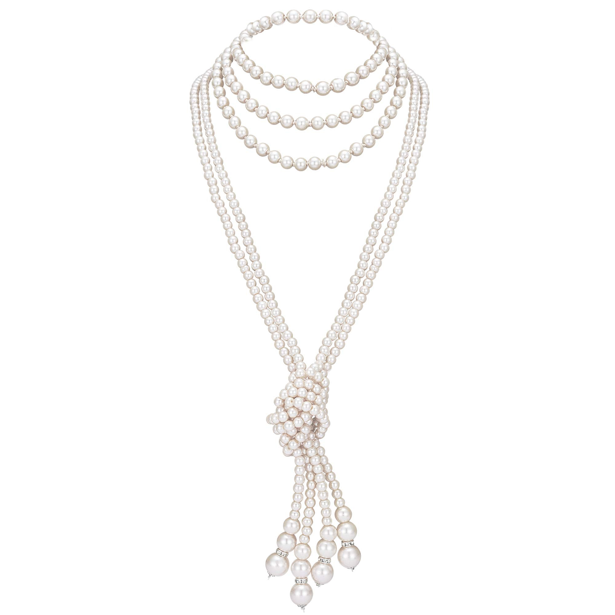 "BABEYOND 1920s Imitation Pearls Necklace Gatsby Long Knot Pearl Necklace 49"" and 59"" 20s Pearls 1920s Flapper Accessories (Knot Pearl Necklace2 + 59"" Necklace1)"