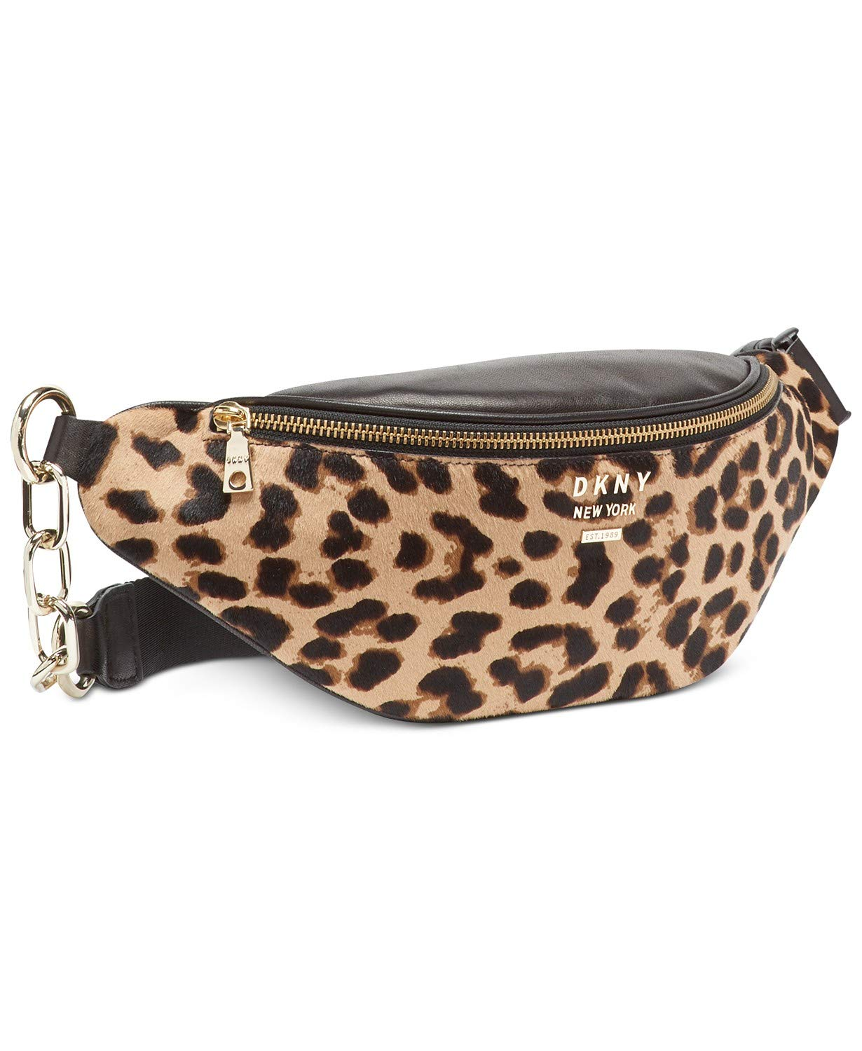 DKNY Women's Kim Leather Leopard Belt Bag Fanny Pack Black
