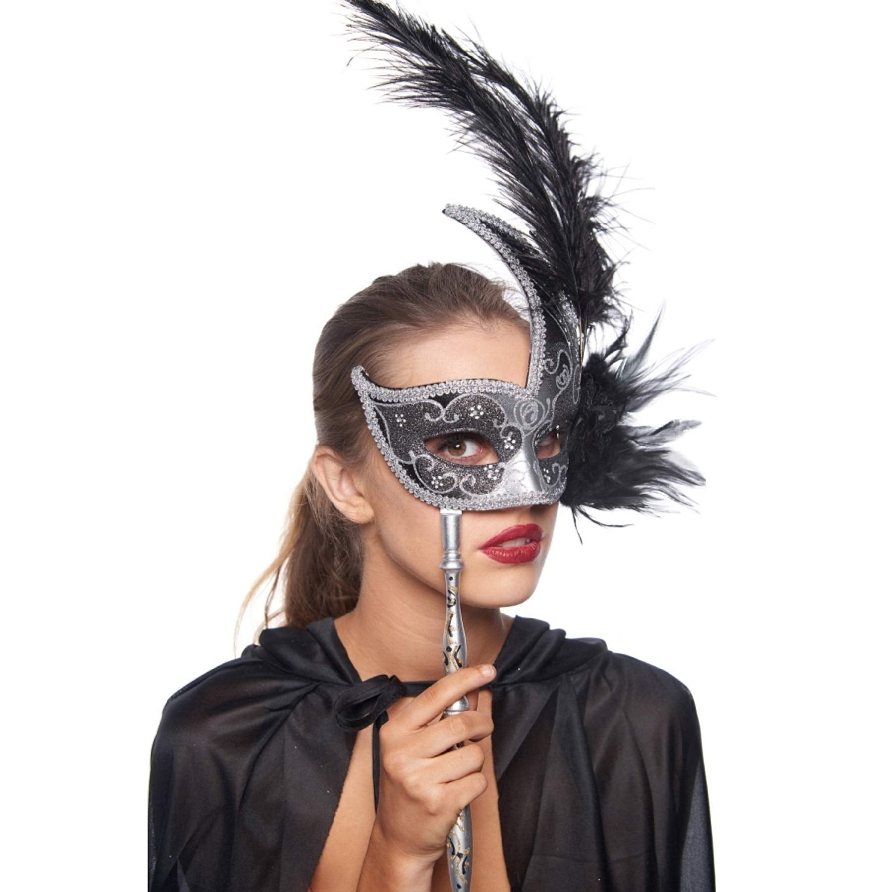 Thrones Hand-held Masquerade Mask (Unisex; One Size; Black/Silver)