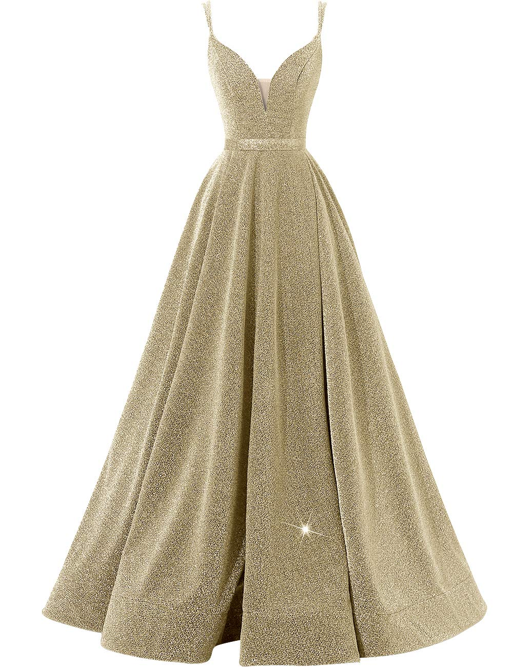 Women's Glittery Spaghetti V-Neck Prom Dresses Long Side Split Formal Evening Gowns Gold