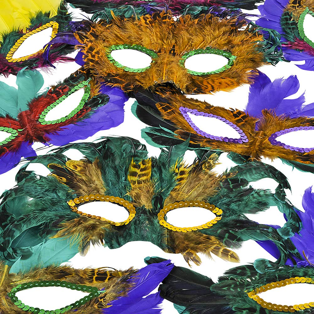 Mardi Gras Masks - (Pack of 50) Bulk Carnival Masquerade Mask Costume Party Supplies, Feather Mardi Gras Decorations for Women, Men and Kids